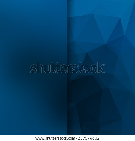 Banner design. Abstract template background with blue triangle shapes. - stock photo