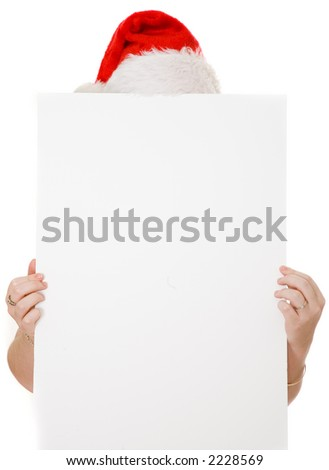 banner held by hands with santa hat on top over a white background