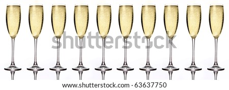 Banner of ten Champagne glasses. Isolated on white background - stock photo
