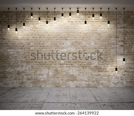 Banner on wooden wall  with retro lamps .3D illustration - stock photo