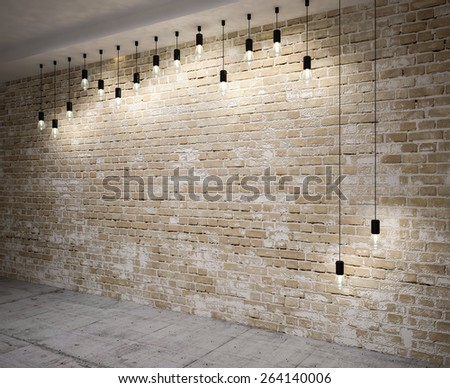 Banner on wooden wall  with retro lamps .3D illustration