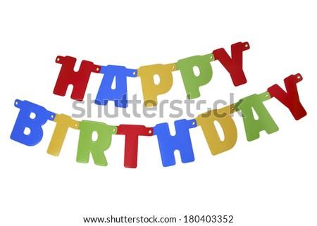 Banner spelling Happy Birthday - stock photo