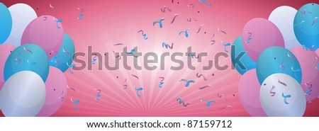 banner with colorful balloons illustration - stock photo