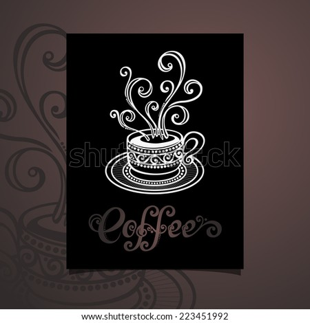 Banner with Decorative Cup of Coffee with Steam. Coffee Design