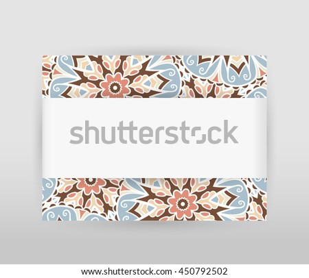 Banner with floral pattern and white horizontal paper tape. Raster version - stock photo