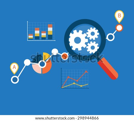 Banner with focused magnifying glass on gear and multicolored pie chart with name Data analysis on blue background. For web construction, mobile applications, banners. Raster version  - stock photo