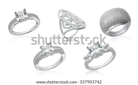 Banner with jewelry on a white background - stock photo