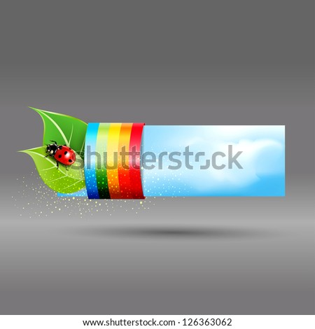 banner with leaves and ladybug - stock photo