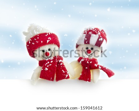 banner with snowmen, no name toy - stock photo