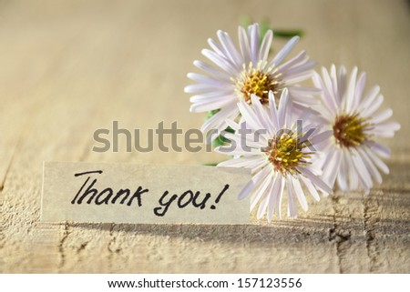 Banner with thank you and  blossoms.  - stock photo