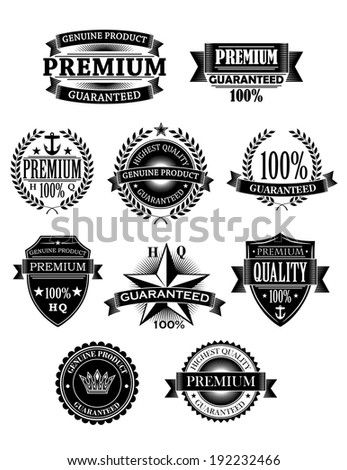 Banners and badges set for retail guarantee design. Vector version also available in gallery - stock photo