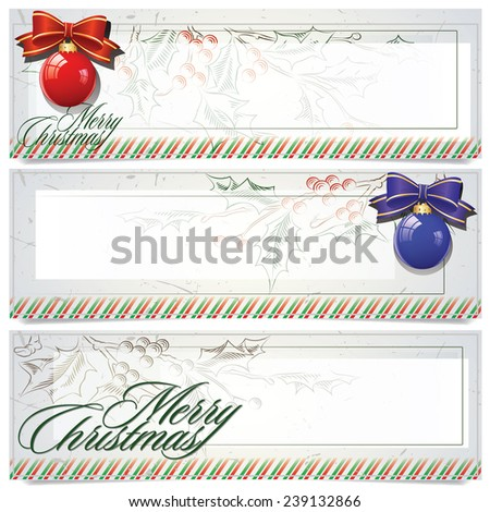 Banners for Christmas and New Year - stock illustration (for web, sales, coupons and invitations) - stock photo
