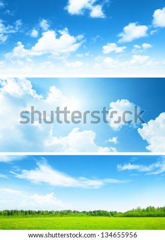 banners of field of spring grass and sky - stock photo