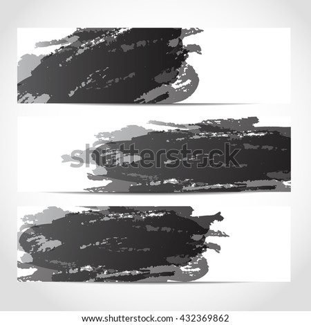 Banners. Set of trendy black banners template or website headers with watercolor imitation background. Advertising banners with grayscale watercolor spots. Design for banner. card header background - stock photo