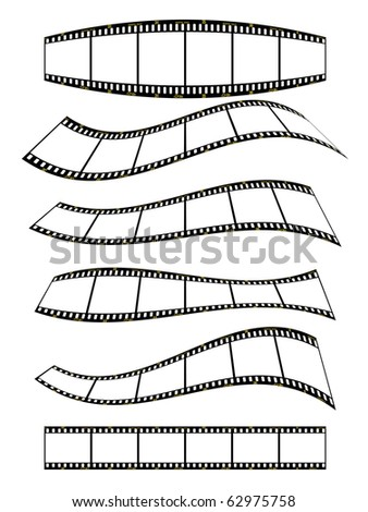 banners, warped film strip with wavy style, with film frame number and details. - stock photo