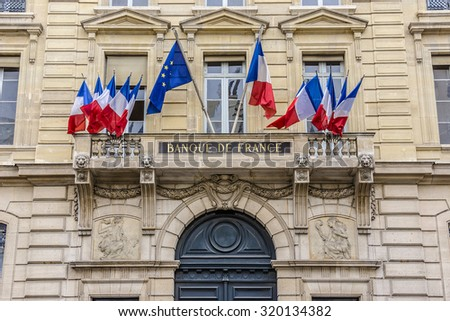 Banque de France (1880) is central bank of France; it is linked to European Central Bank (ECB). It is headquartered in Paris. France. - stock photo