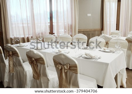 Banquet facilities served table - stock photo
