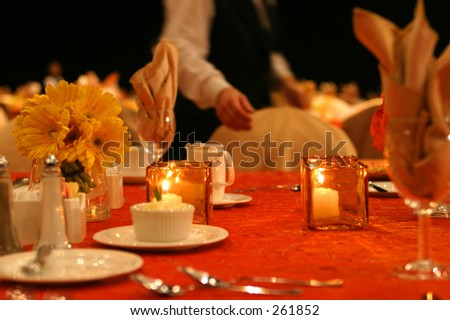 Banquet table setting. - stock photo