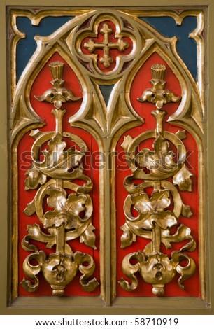 Banska Stiavnica - detail from altar in st. Katharine church - stock photo