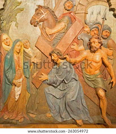 BANSKA STIAVNICA, SLOVAKIA - FEBRUARY 5, 2015: The detail of carved relief Jesus meets his mother as the part of baroque Calvary from years 1744 - 1751. - stock photo