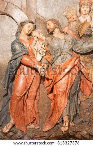 BANSKA STIAVNICA, SLOVAKIA - FEBRUARY 5, 2015: The detail of carved relief Jesus says farewell to his mother as the part of baroque Calvary from years 1744 - 1751 by Dionyz Stanetti. - stock photo