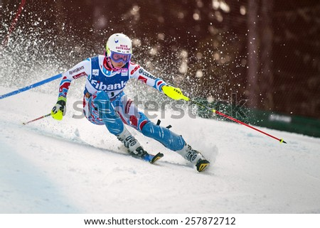 BANSKO, BULGARIA - MARCH  1, 2015: Margot Bailet (FRA) competes in the Audi FIS Alpine Ski World Cup Ladies' alpine combinedon MARCH  1 ,2015 in Bansko, Bulgaria - stock photo
