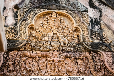 Banteay Srei - a 10th century Hindu temple dedicated to Shiva. The temple built in red sandstone was rediscovered 1814 in the jungle of the Angkor area of Cambodia.