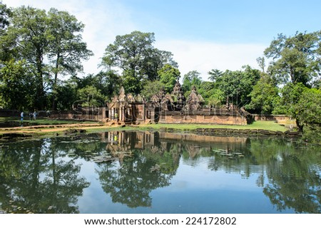 Banteay Srei or Banteay Srey , a 10th-century Cambodian temple dedicated to the Hindu god Shiva. - stock photo