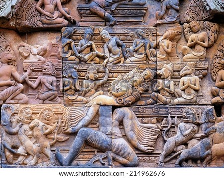 Banteay Srei Ruins Temple In Siem Reap, Cambodia - stock photo