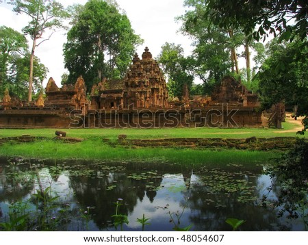 Banteay Srei temple (temple of women) near Angkor Wat (Siem Reap, Cambodia). - stock photo