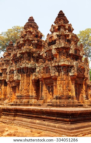 Banteay Srei - 10th century Cambodian temple dedicated to the Hindu god Shiva, located in the area of Angkor in Cambodia - stock photo