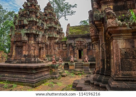 Banteay Srei Wat wide angle detailed view, Siem Reap, Cambodia