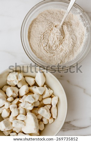 Baobab Fruit and powder, powerful superfood - stock photo