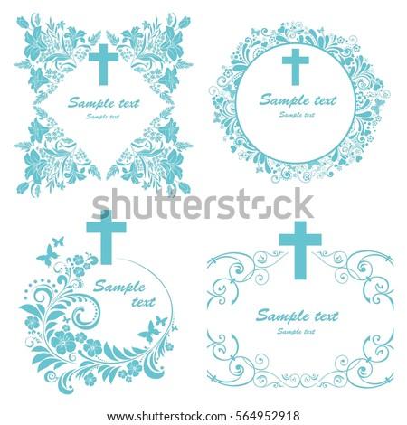 Baptism Card Design Cross Obituary Notice Stock Illustration ...