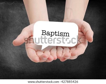 Baptism written on a speechbubble - stock photo