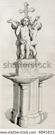 Baptismal font old illustration. Marble group sculpted by Jouffroy for Saint-Germain l'Auxerrois church in Paris, after composition of De Lamartine. Published on Magasin Pittoresque, Paris, 1844 - stock photo