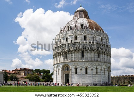 Baptistery in the square of Miracles - Pisa - Italy - stock photo