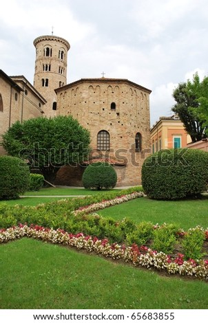 Baptistery of Neon and round tower, Ravenna, Italy