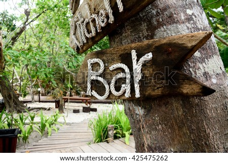 Bar Alphabet Letters made from Braided Cord on wood and on coconut tree