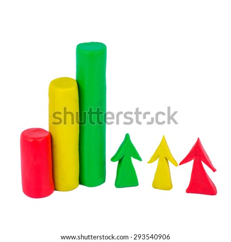 Bar chart and arrow made out of colorful play dough. Red, green, yellow. Icon on white background. - stock photo