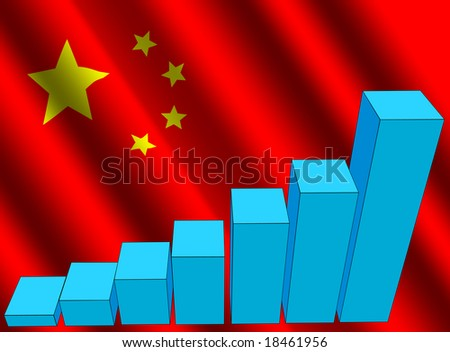 bar chart and rippled Chinese flag illustration - stock photo