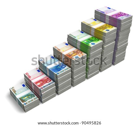 Bar chart from different Euro banknotes isolated on white background - stock photo