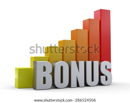 Bar chart in front of the word BONUS silver color - stock photo