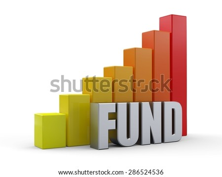 Bar chart in front of the word FUND silver color - stock photo