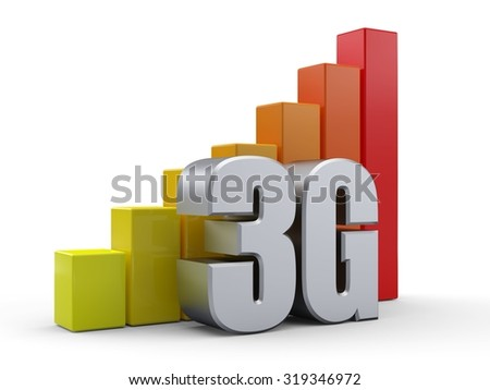 Bar chart in front of the word 3G silver color - stock photo