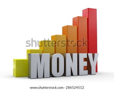 Bar chart in front of the word MONEY silver color - stock photo