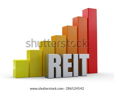Bar chart in front of the word REIT silver color - stock photo
