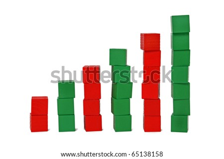 Bar chart made with red and green blocks - stock photo