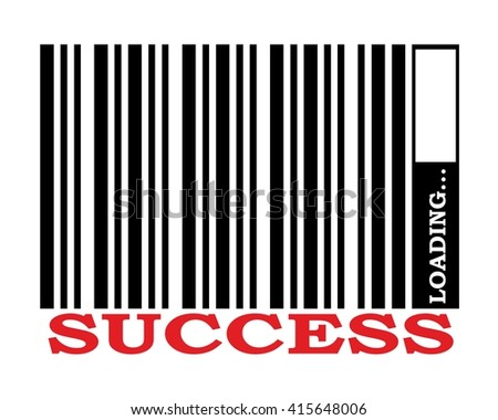 bar code concept vector image. success text and loading bar