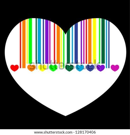 bar code heart - stock photo